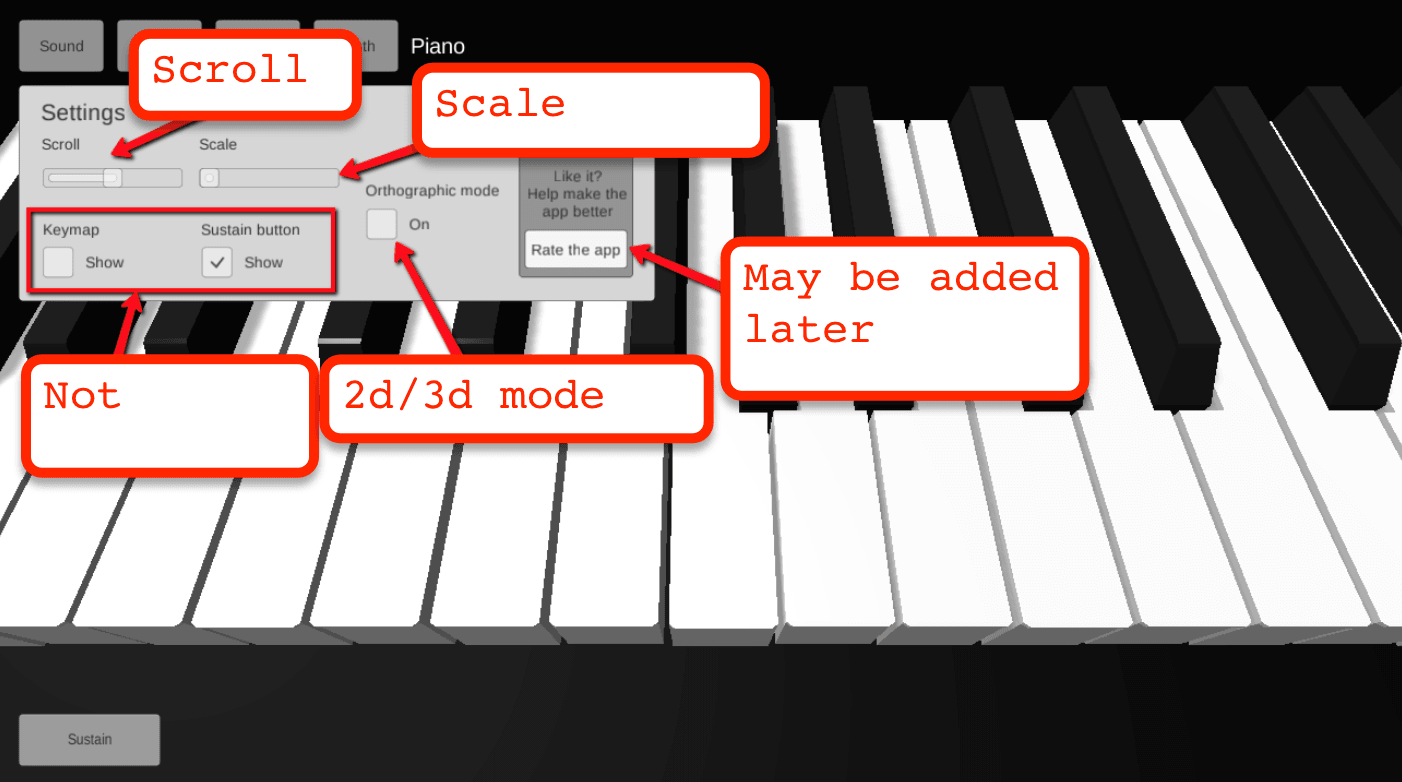 old settings tab of piano 3d