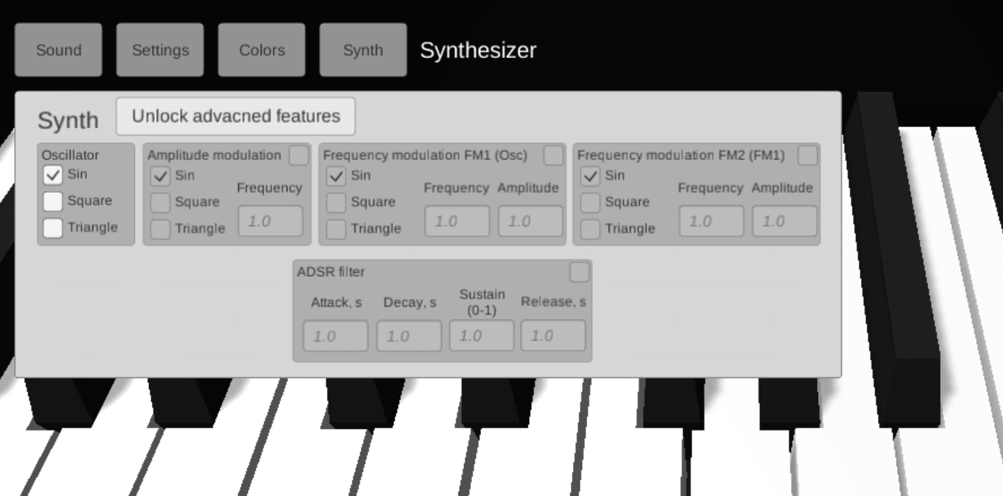 old synth settings tab of piano 3d