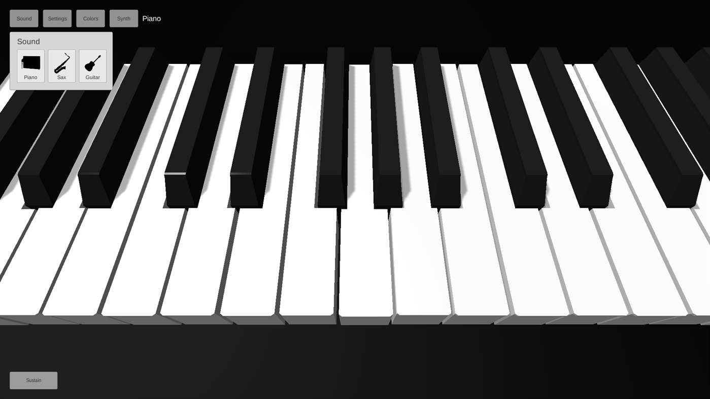Piano 3D windows store main screen
